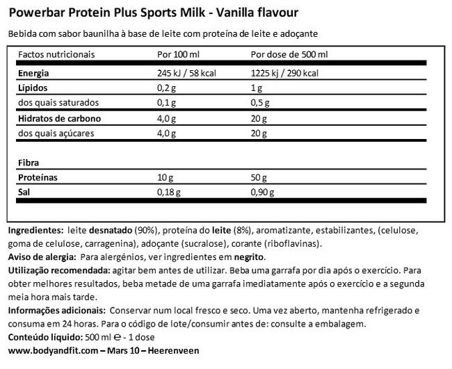 Protein Plus Sports Milk Nutritional Information 1