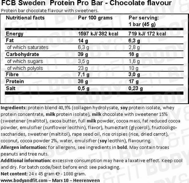 プロテイン プロ バー Nutritional Information 1