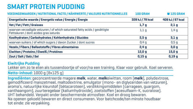 Smart Protein Pudding Nutritional Information 1