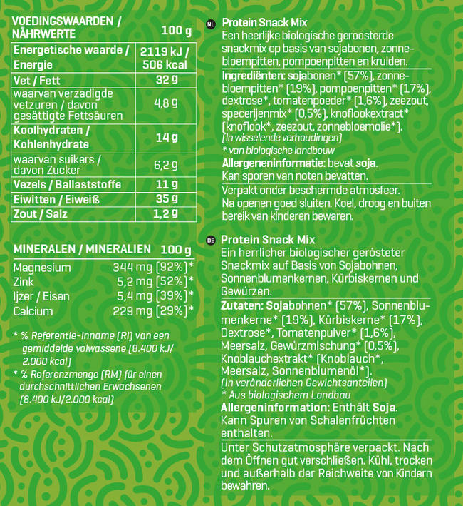 Protein Snack Mix Bio Nutritional Information 1