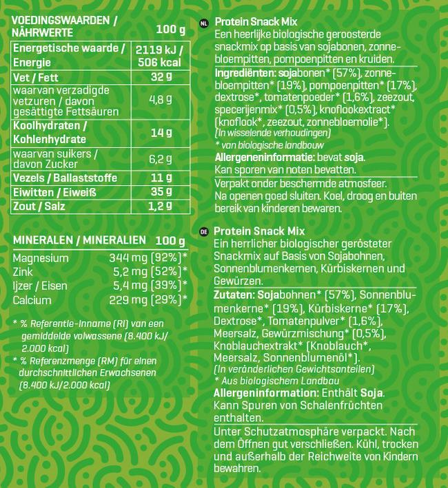 Protein Snack Mix Biologisch Nutritional Information 1