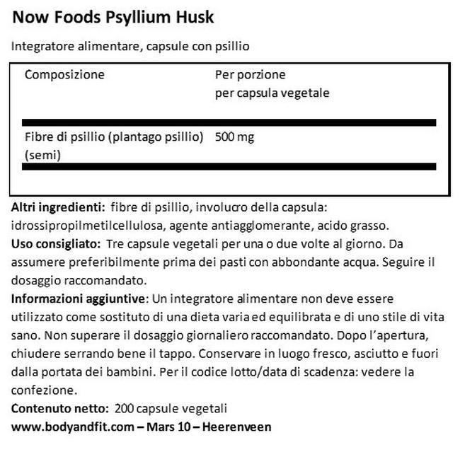 Buccia di Psillio Nutritional Information 1