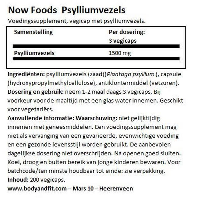 Psyllium Husk Nutritional Information 1