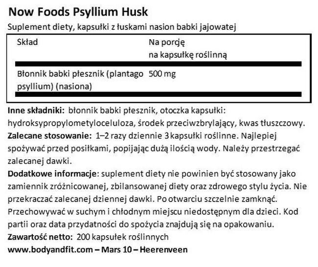 Łuski nasion babki płesznik Nutritional Information 1