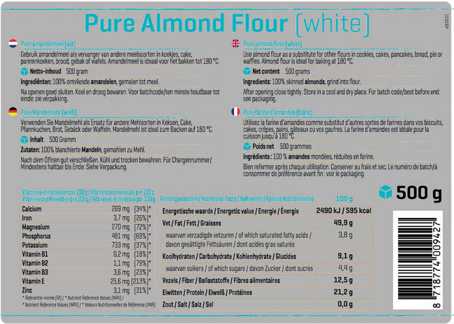 Pure Amandelmeel Nutritional Information 1