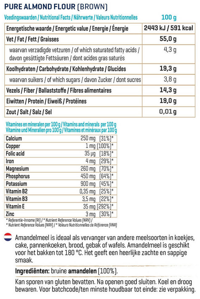 Pure Amandelmeel Nutritional Information 2