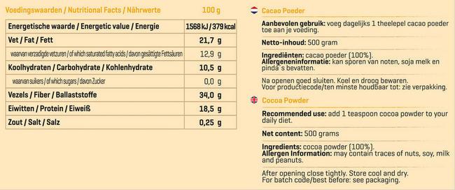 Pure cacao en poudre Nutritional Information 1
