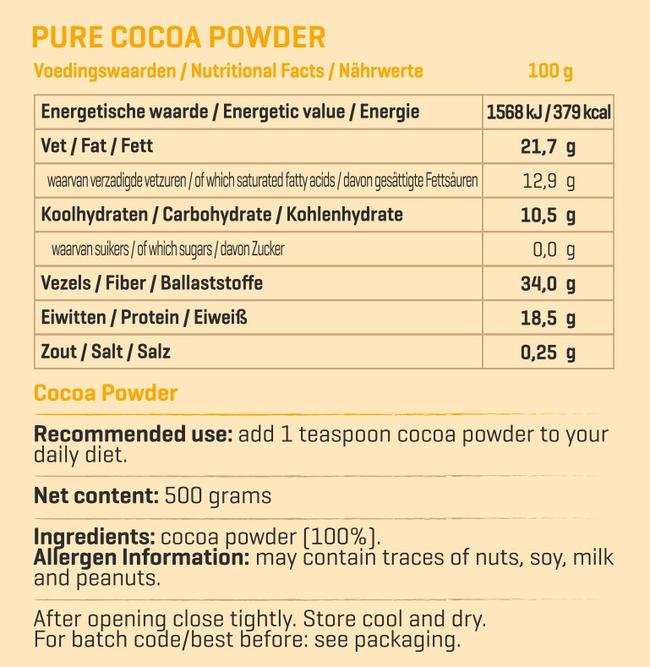 Pure cacao en poudre Nutritional Information 3