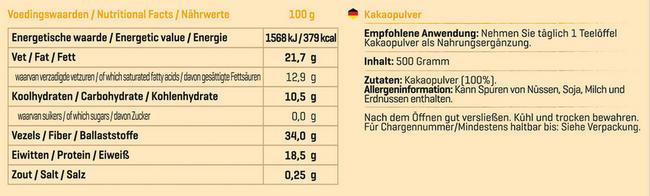 Pure Kakaopulver Nutritional Information 1