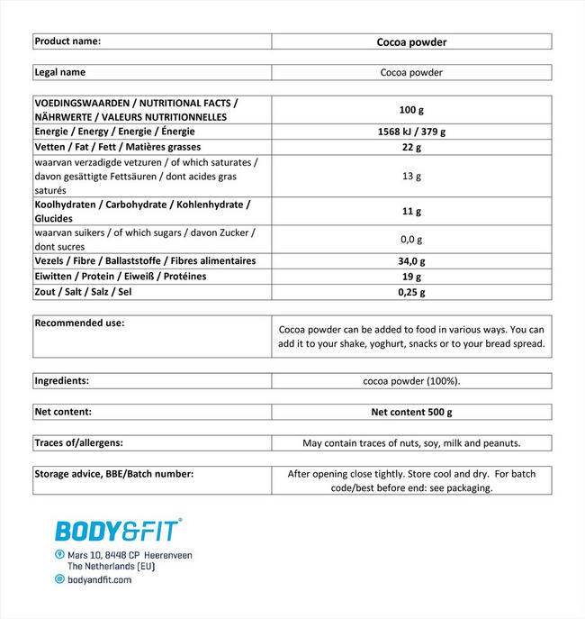 ココアパウダー Nutritional Information 1