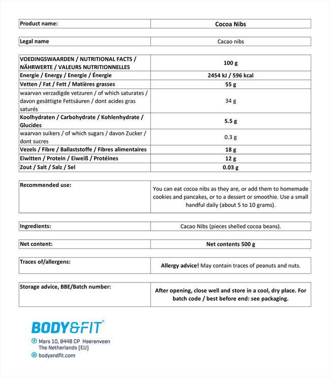 カカオ ニブ Nutritional Information 1