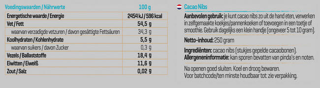 Pure Cacao Nibs Nutritional Information 1