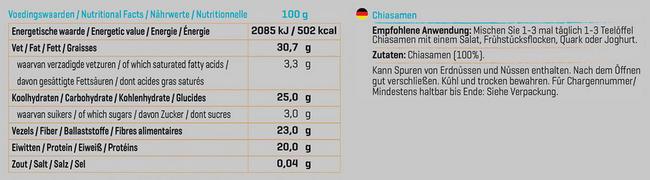 Pure Chiasamen Nutritional Information 1