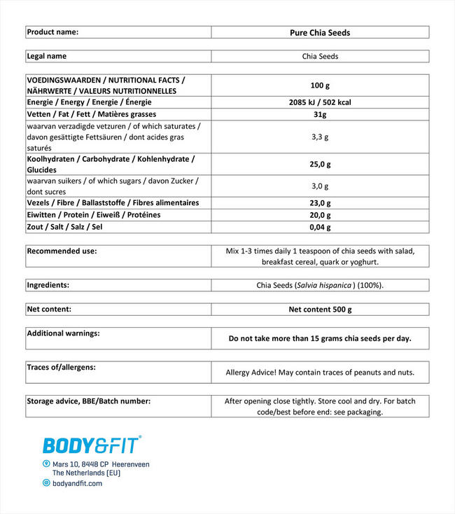 Pure Chia Seeds Nutritional Information 1
