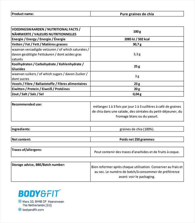 Graines de chia pures Nutritional Information 1