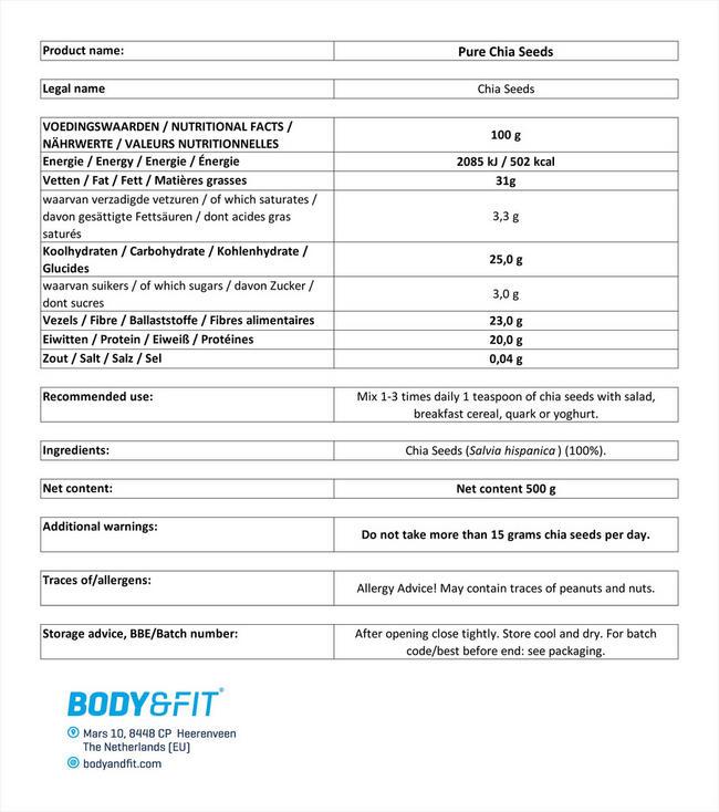 퓨어 치아시드 Nutritional Information 1