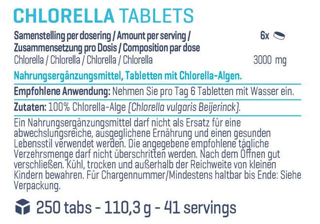 Pure Chlorella Tabs Nutritional Information 1