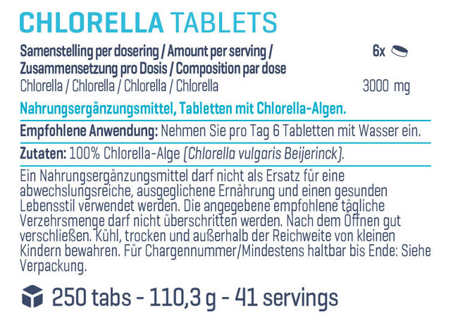 Pure Chlorella Tabs Nutritional Information 1