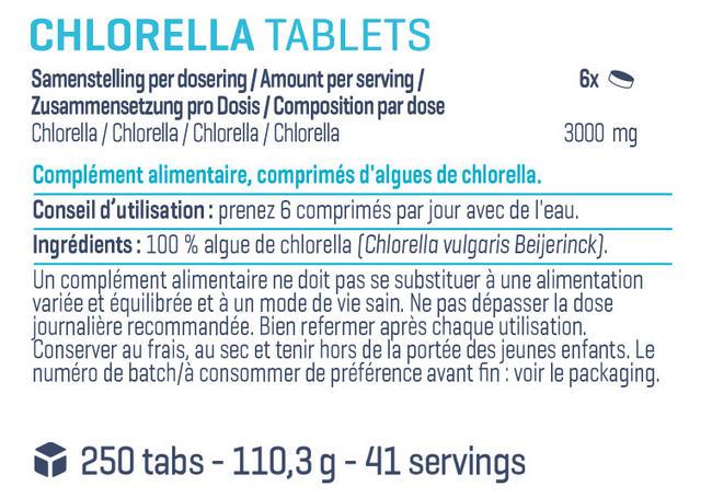 Comprimés de chlorelle Pure Chlorella Tablets Nutritional Information 1