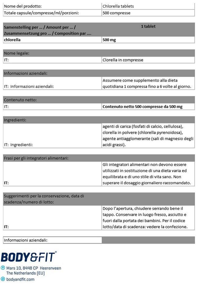 Compresse di Clorella Pure Nutritional Information 1
