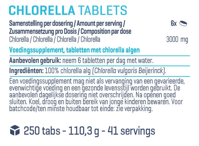 Pure Chlorella tabletten Nutritional Information 1