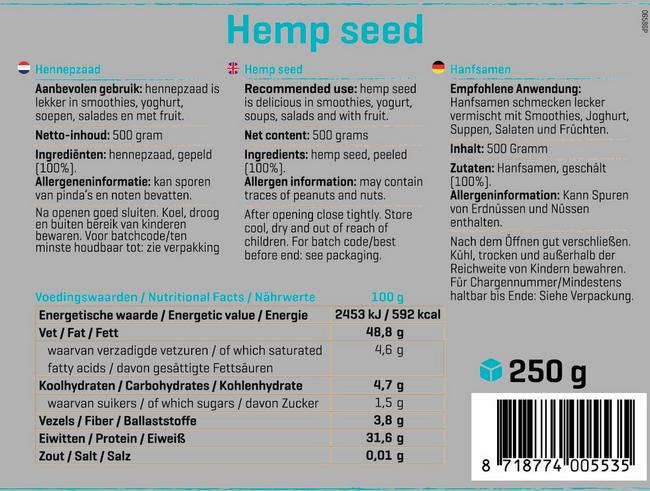 Pure Hanfsamen Nutritional Information 1