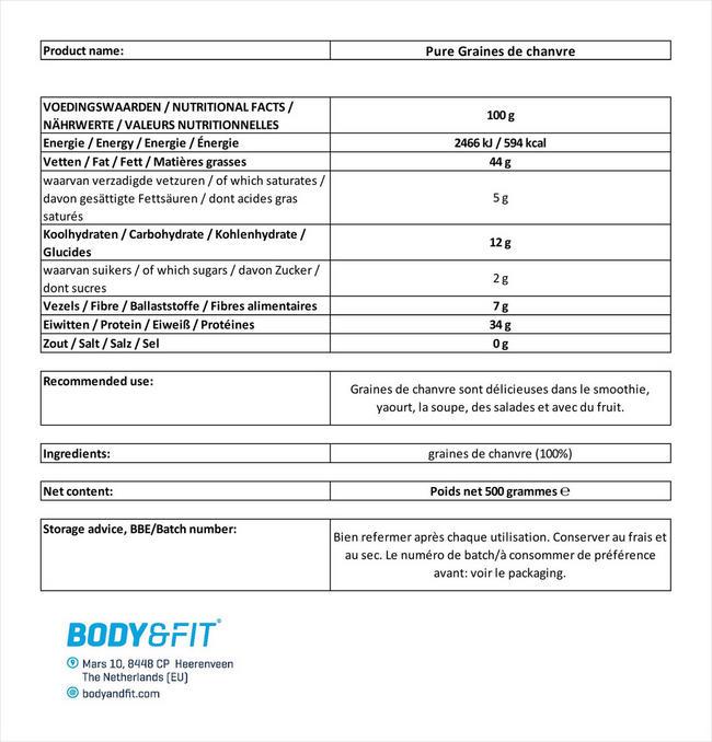 Pure Graines de chanvre Nutritional Information 1