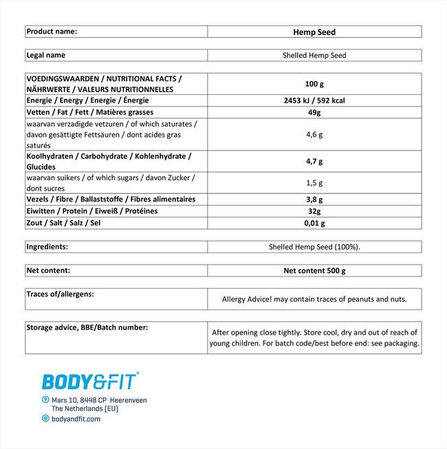ピュアヘンプシード Nutritional Information 1