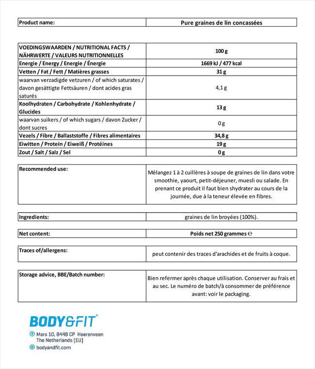 Pure Leinsamen, geschrotet Nutritional Information 3