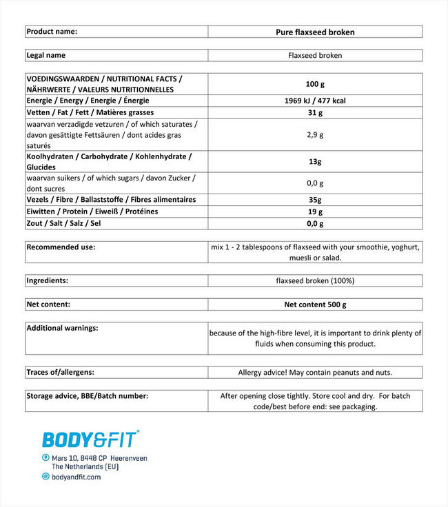 Pure Flaxseed Broken Nutritional Information 1