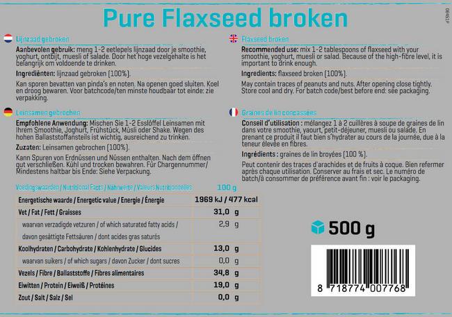 Éclats de graines de lin Pure Flaxseed Broken Nutritional Information 1