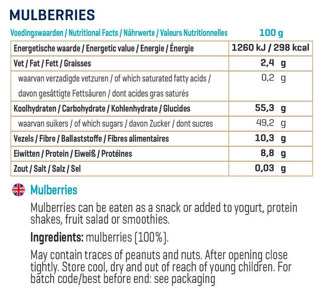 Pure Maulbeeren Nutritional Information 2