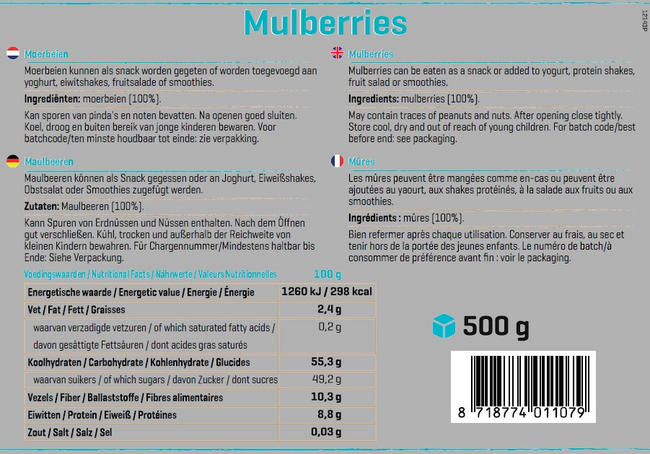 Mûres Pure Mulberries Nutritional Information 1