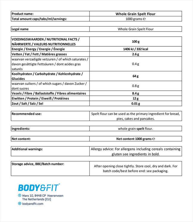 Pure Dinkelmehl Nutritional Information 1