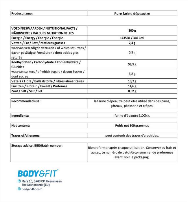 Pure farine d'épeautre Nutritional Information 1