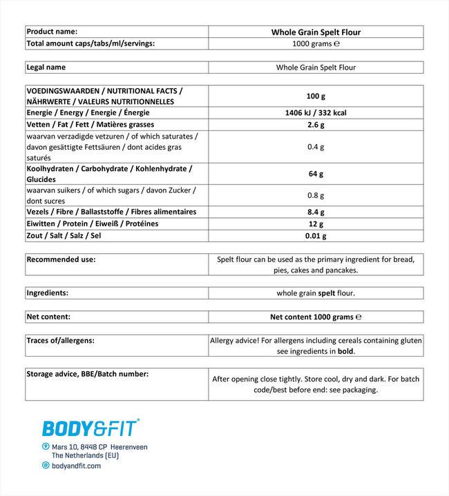 ピュア スペルトフラワー Nutritional Information 1