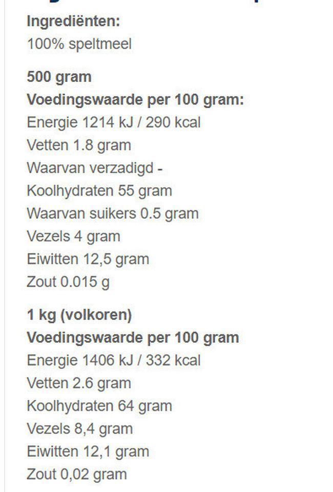 Pure Speltmeel Nutritional Information 1