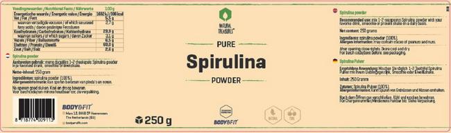 Pure Spirulina-Pulver Nutritional Information 1