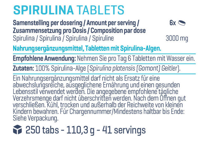 Pure Spirulina Tabs Nutritional Information 1