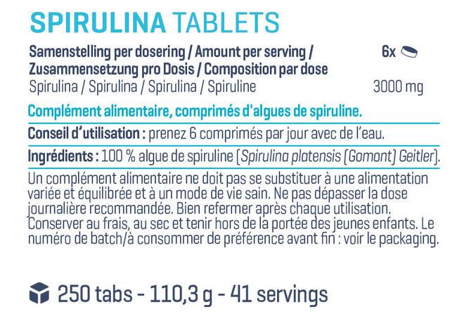 Pure Comprimés de spiruline Nutritional Information 1