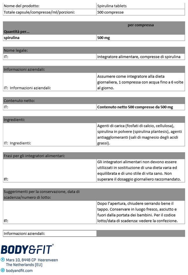 Compresse di Spirulina Pure Nutritional Information 1