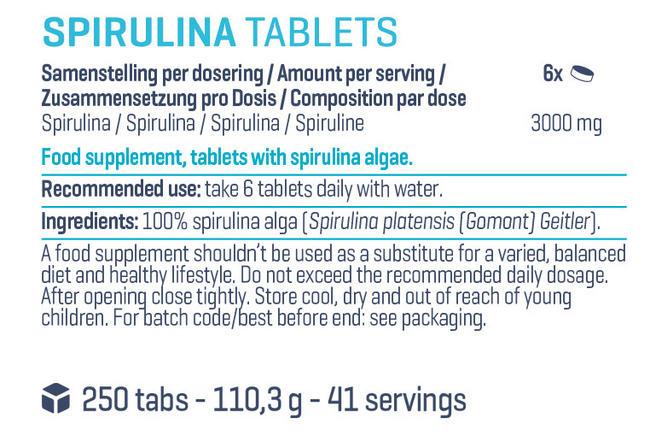 ピュアスピルリナ タブレット Nutritional Information 1