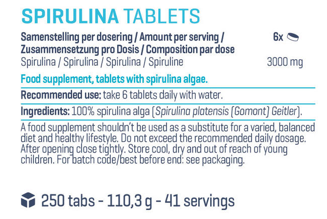 퓨어 스피룰리나 정제 Nutritional Information 1