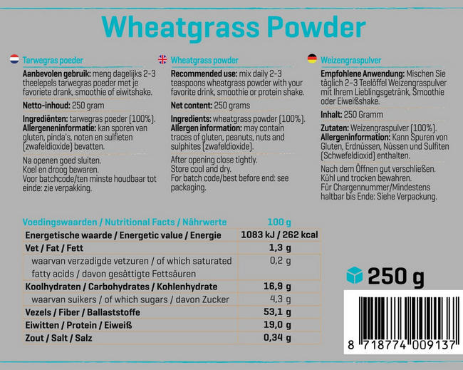 Herbe de blé Pure Wheatgrass Nutritional Information 1