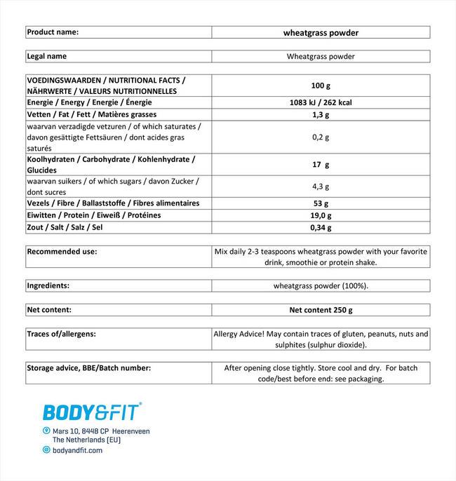 ピュアウィートグラス Nutritional Information 1