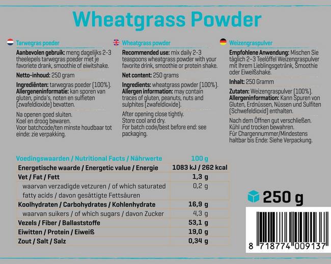 Pure Tarwegras Nutritional Information 1