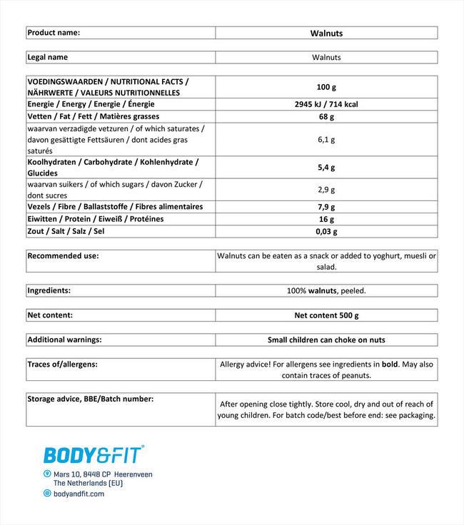 ピュアウォールナッツ Nutritional Information 1