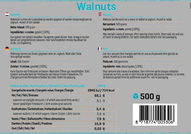 Pure Walnoten Nutritional Information 1