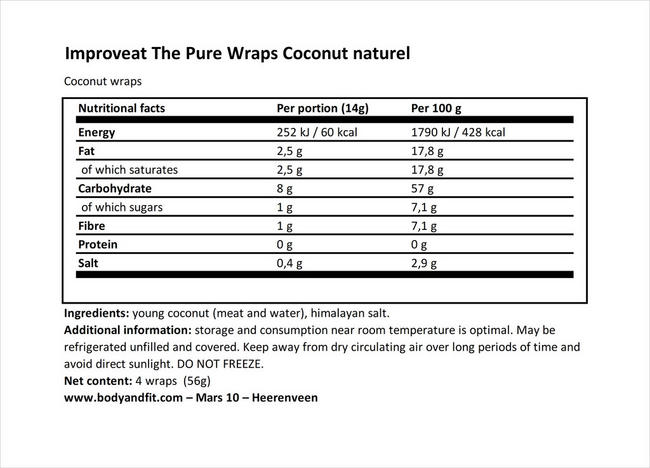 Pure Wraps Coconut Nutritional Information 1