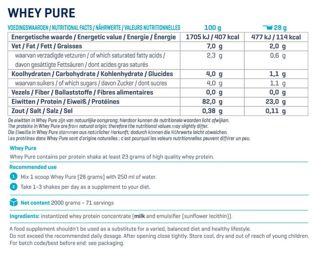 Pure Whey Nutritional Information 4